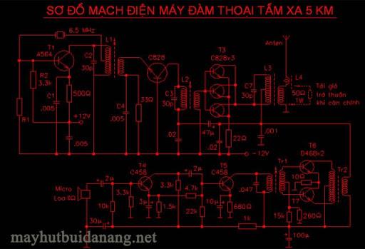 Sơ đồ tham khảo của mạch máy bộ đàm có thể liên lạc 5km