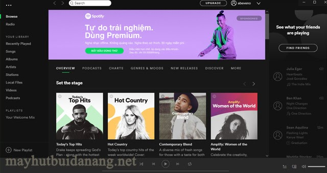 Trang chủ của phần mềm Spotify
