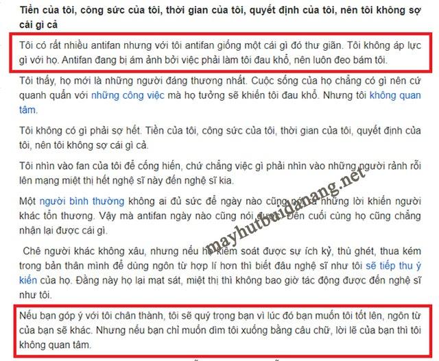 Sự khẳng định về Antifan của Hoa hậu Hương Giang trước đó